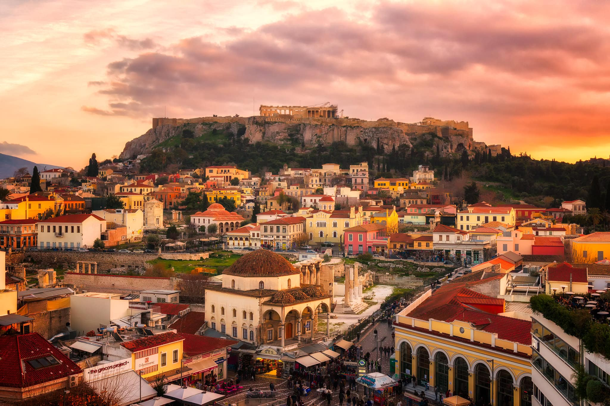 Picturesque panorama view of Monastiraki area in Athens, captured in the evening.