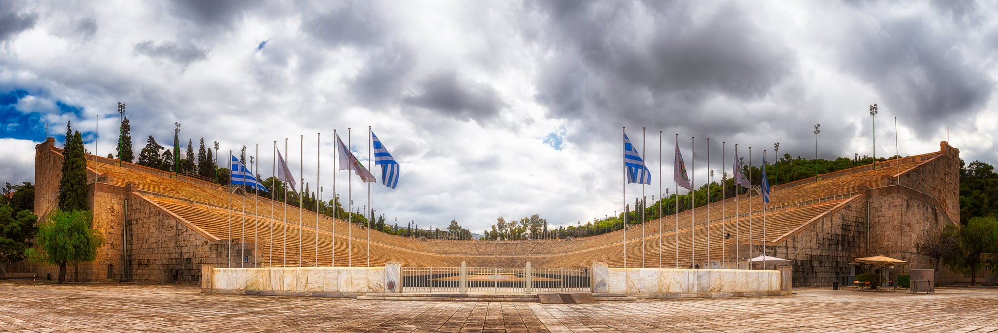 A beautiful day image of the Panathenaic Stadium in Athens that was created entirely of marble.