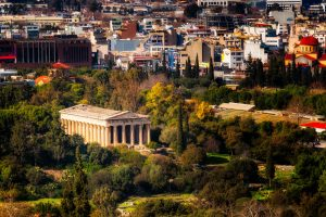 View of Temple Hephaestus from Acropolis hill in Athens