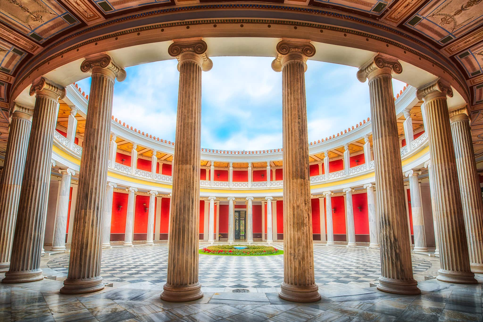 Picture from Athens Greece, showing the impressive symmetry of the atrium at the Zappeion Exhibition Hall.