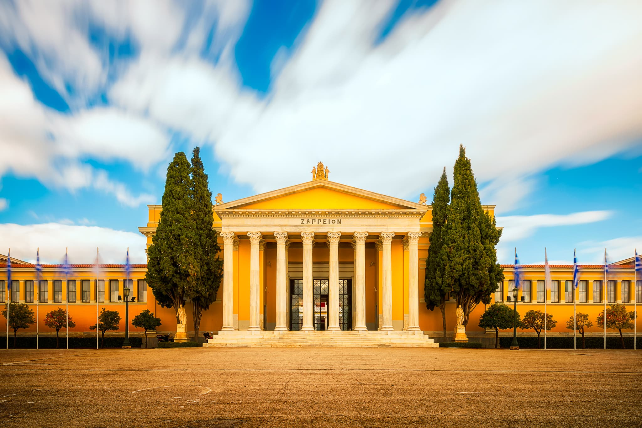 This bright picture shows the exterior of the Zappeion Hall in Athens, Greece.