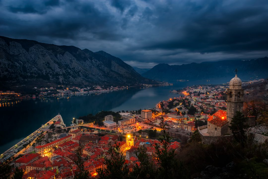 Night picture of Kotor Bay, taken from the Kotor Fortress.