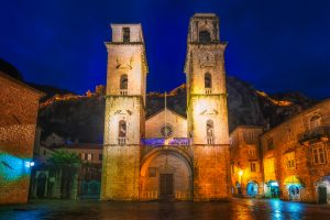 Picture of the Kotor Cathedral, taken just before sunrise.