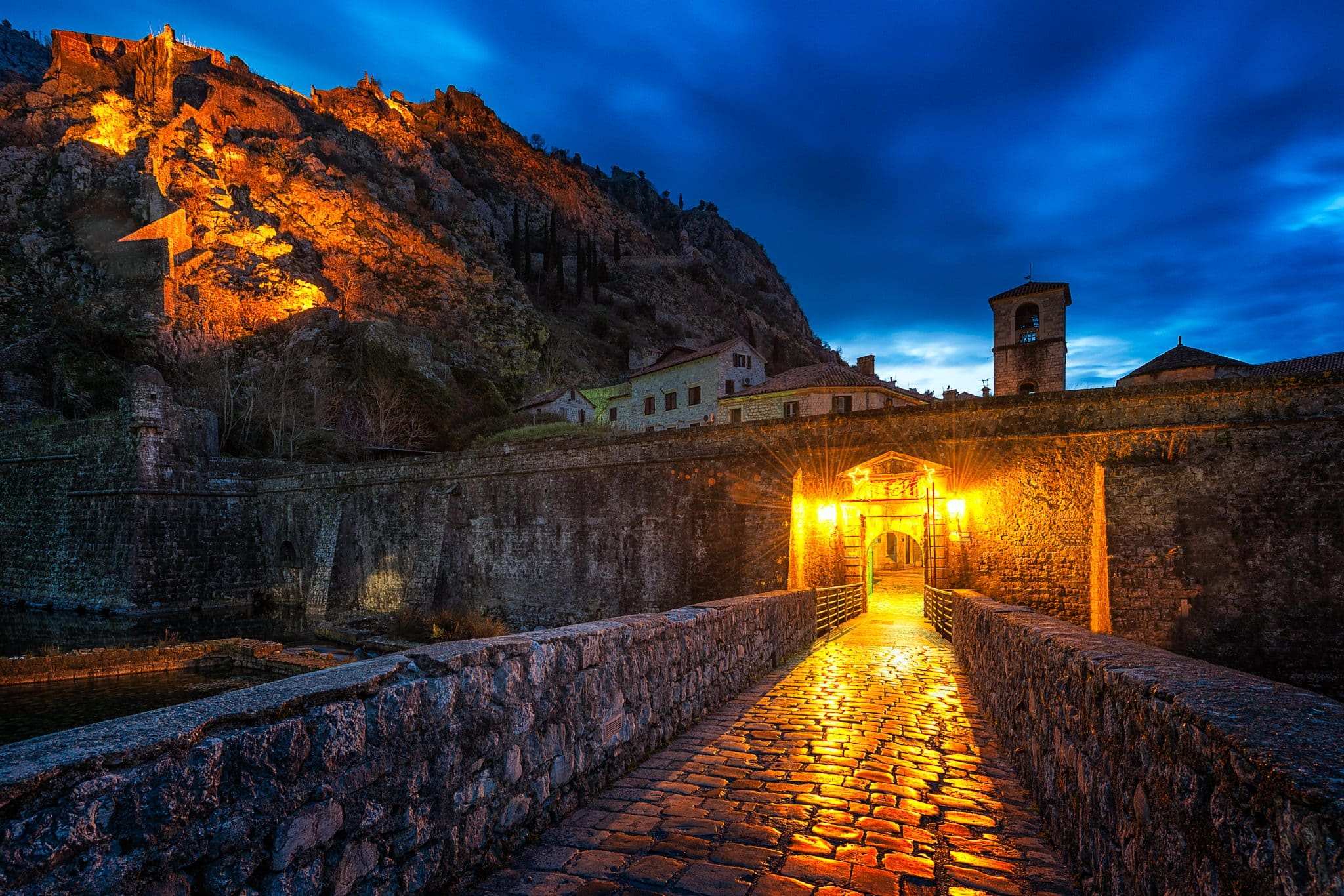 Picture of Kotor Northern Gate, taken just before sunrise.