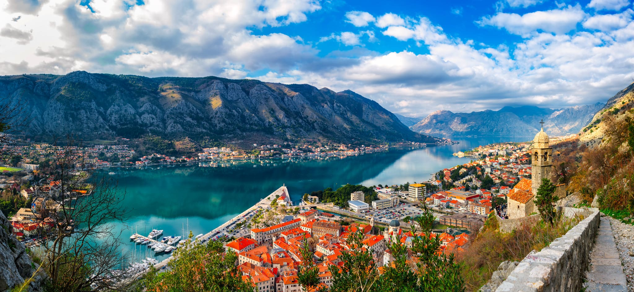 Sunny day in Montenegro in Kotor - Kotor old town and bay seen from Venetian Fortress ruins