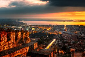 Panoramic view to Thessaloniki, captured at sunset from the Eptapyrgio castle.