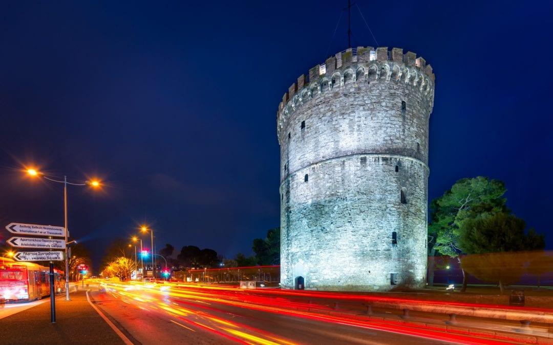 White Tower light trails | Thessaloniki, Greece