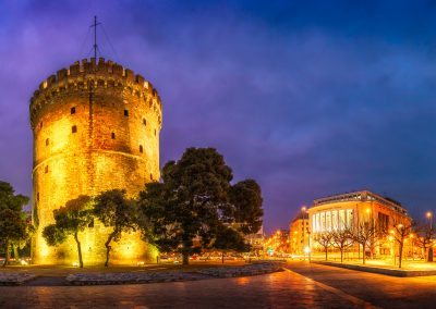 White Tower and the National Theater Of Northern Greece | Thessaloniki, Greece