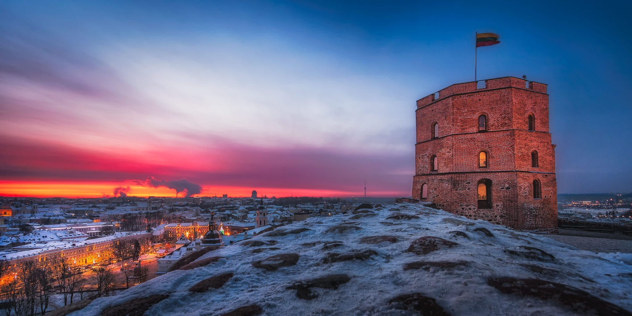 Panorama of Vilnius, Lithuania, with a focus on the Gedimias' Tower.