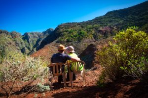 Couple in Anaga Mountains during a sunny day in Tenerife, Spain