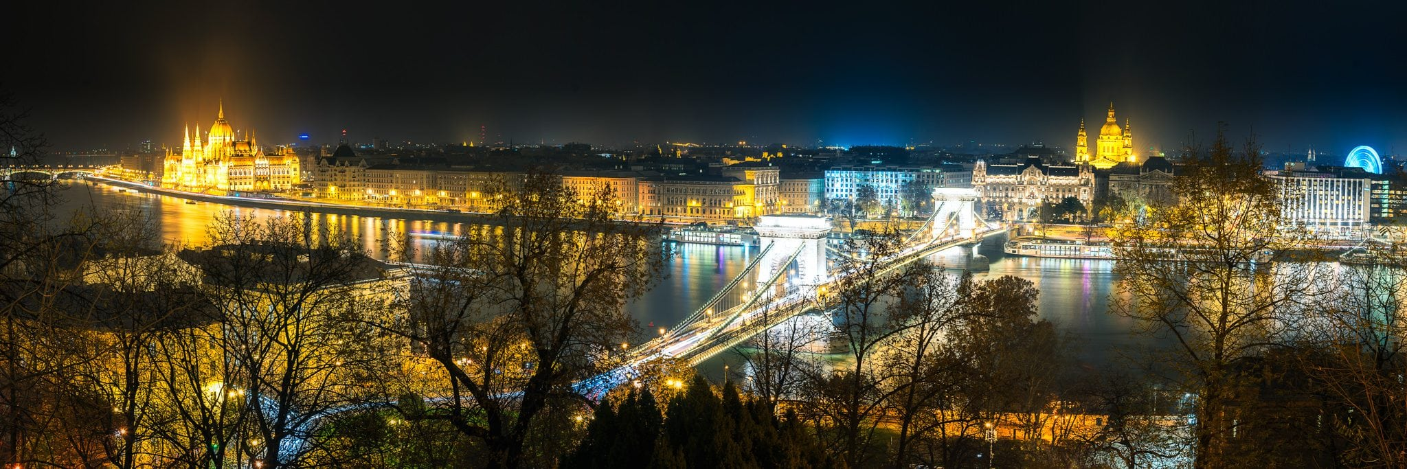 The Danube River in a Budapest panoramic view captured in a foggy autumn night.