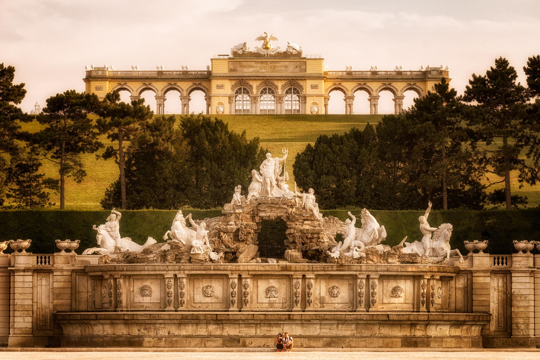 Schönbrunn Palace in Vienna Austria with the Glorietta Fountain