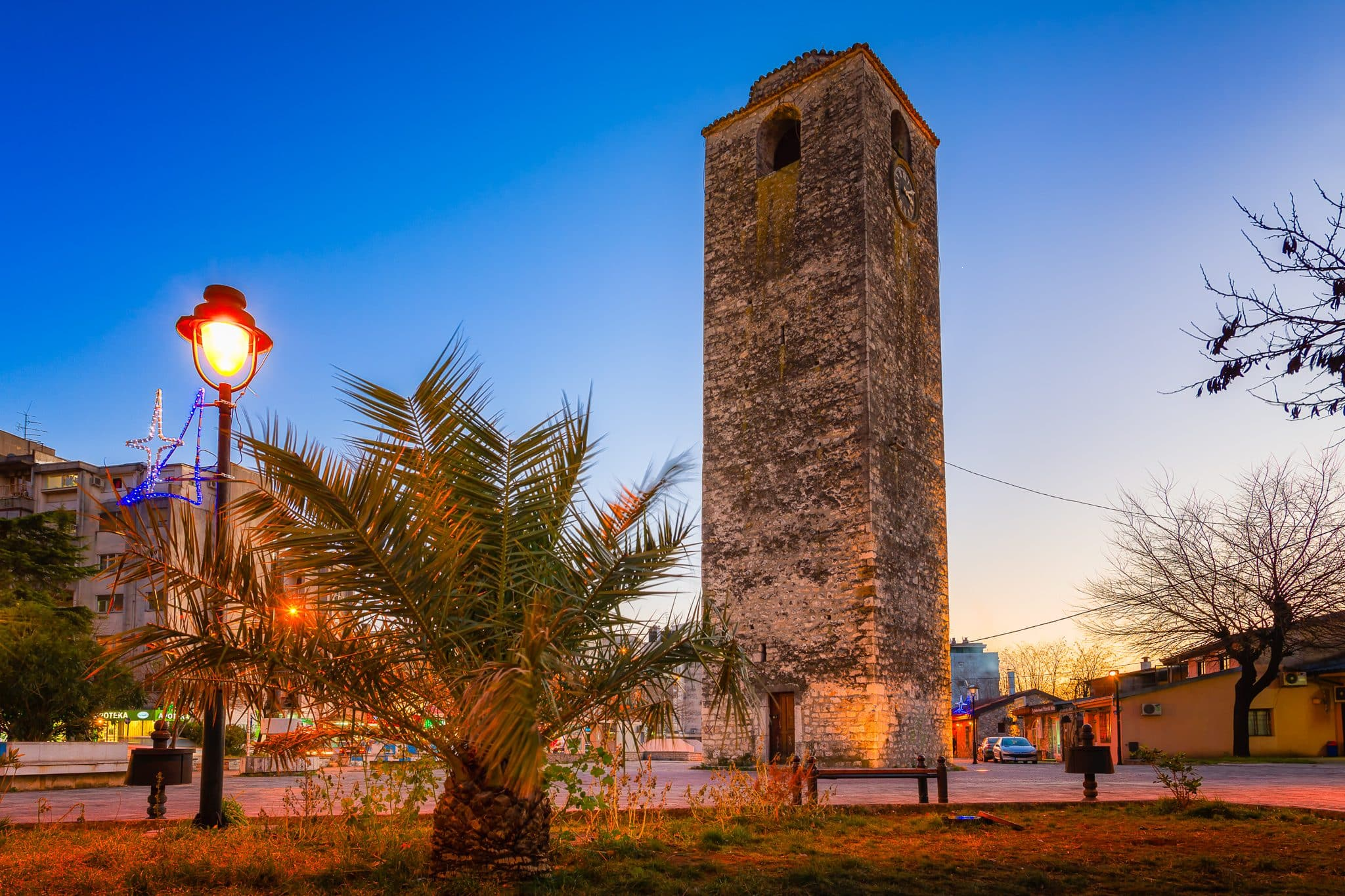 The Clock Tower in Podgorica Montenegro with colorful sky