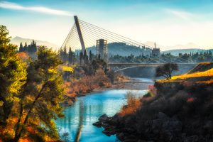 Podgorica bridge and landscape during sunny day