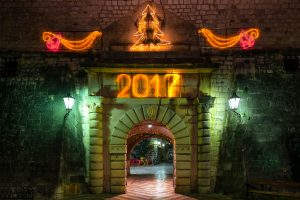 Photo of the Kotor Gate during night on New Year's Eve