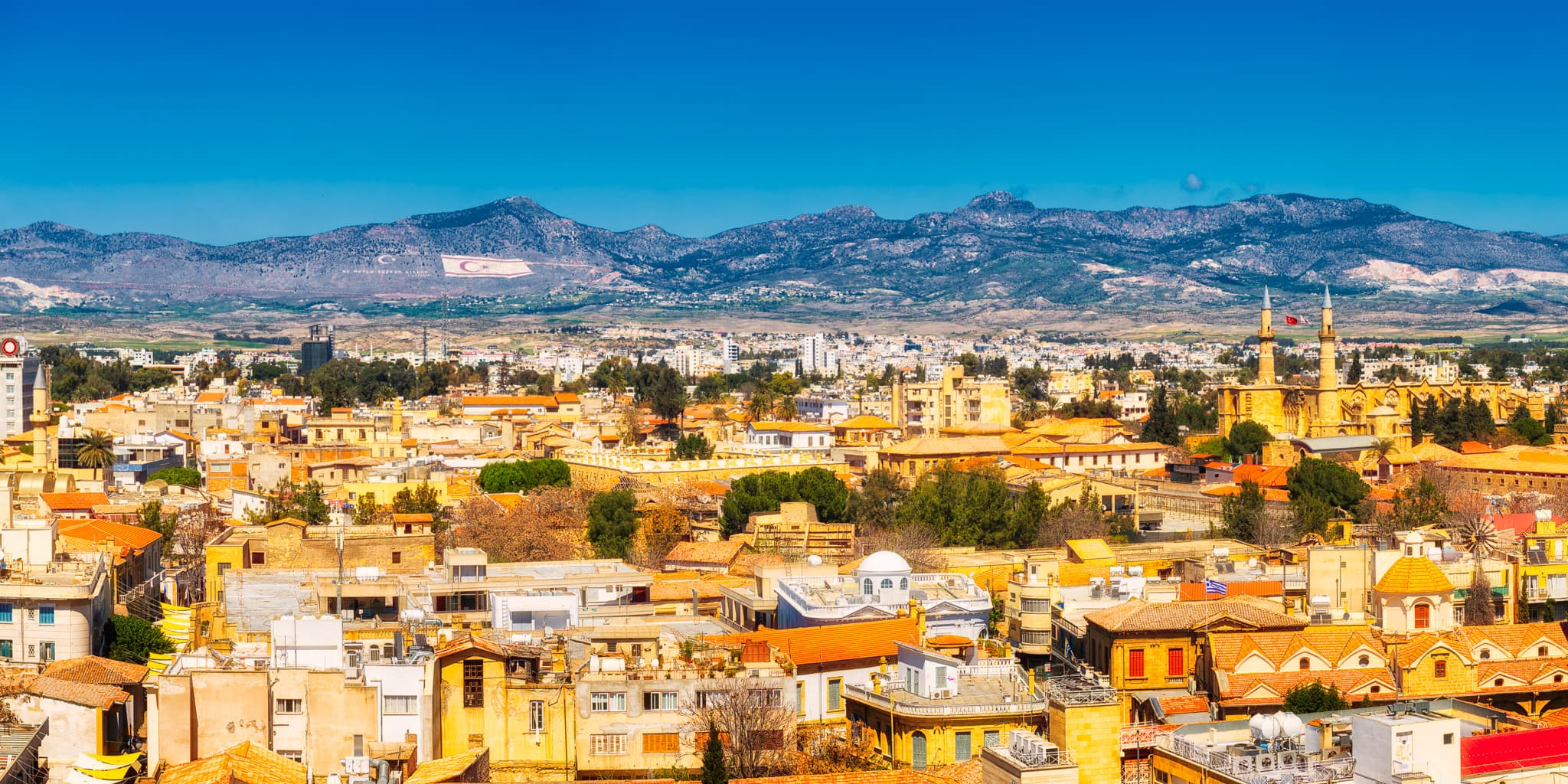 Panorama of the capital of Cyprus - Nicosia during a sunny day