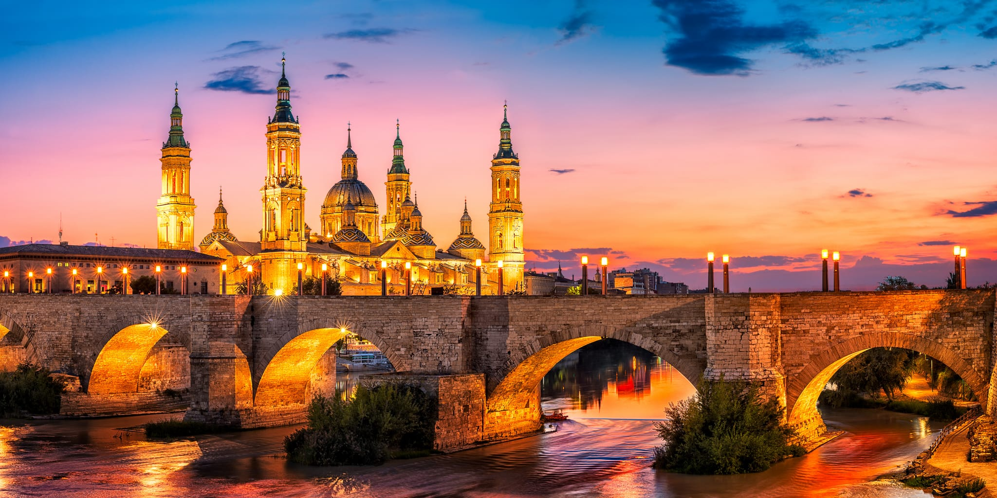 El Pilar Basilica during sunset on one of summer evenings while I was traveling to Spain.