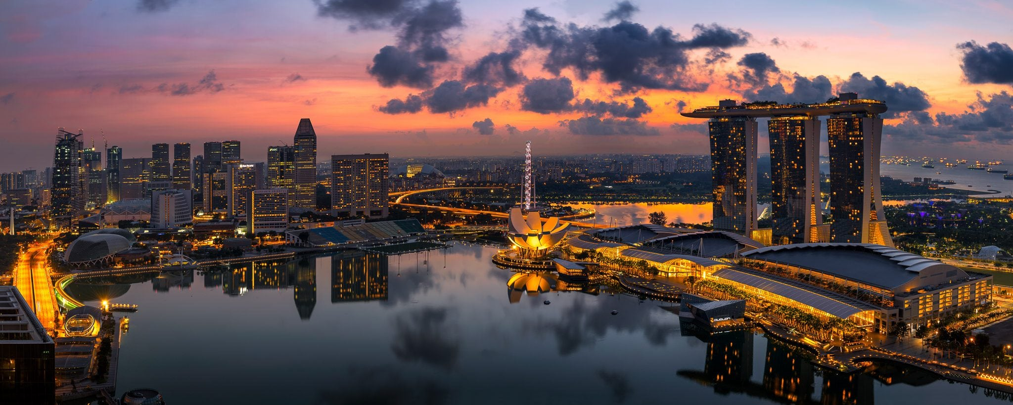 Panoramic view of Singapore Marina, captured at golden sunrise.