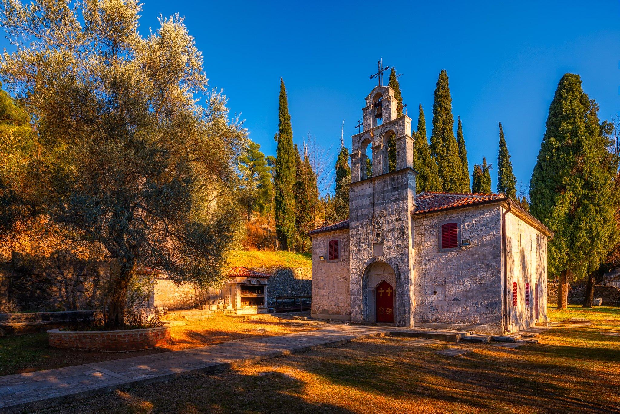 Podgorica Church of St. George and Park around Gorica hill, Montenegro.