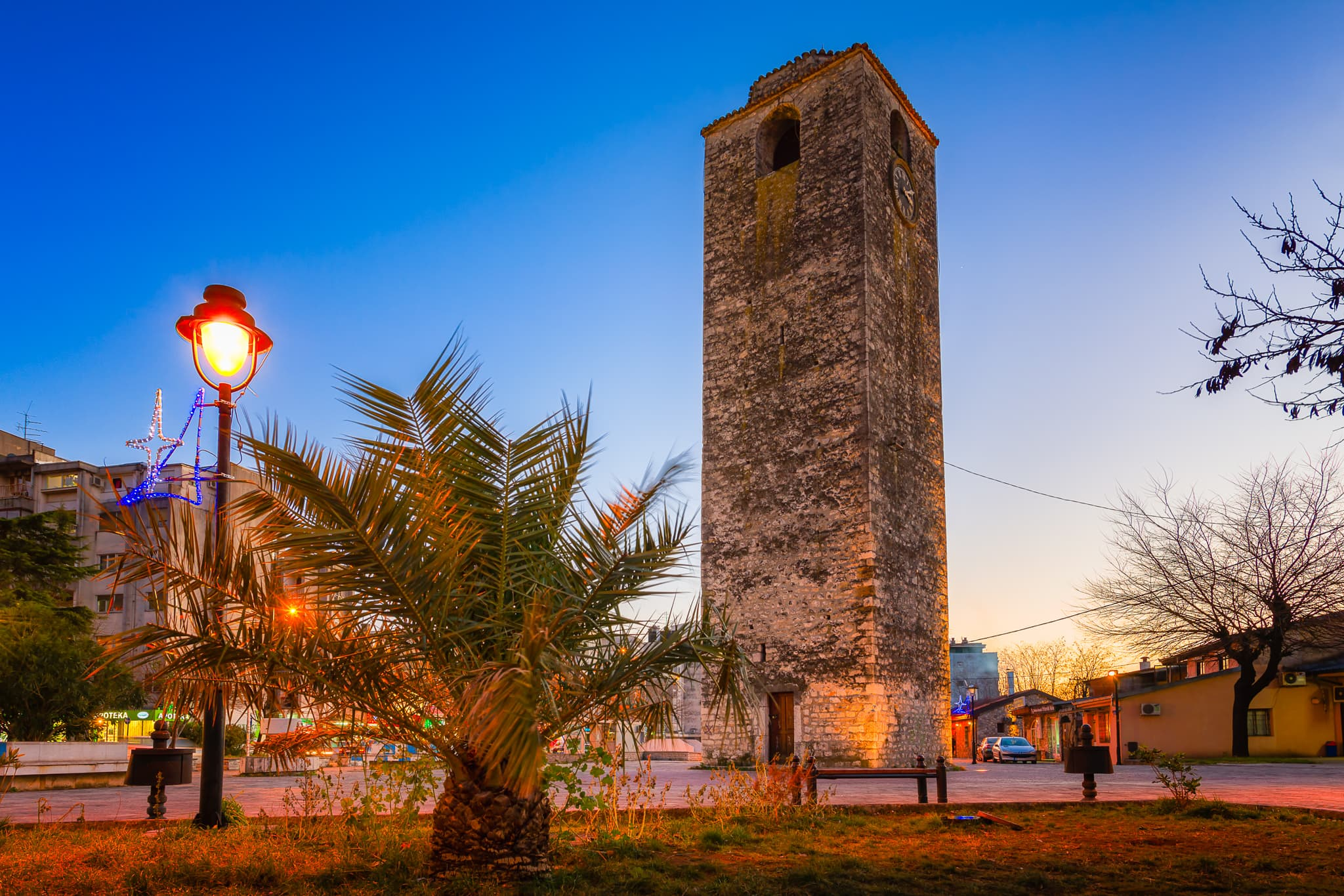 Clock Tower (Sahat Kula) in Podgorica, Montenegro. Sight from Ottoman times.