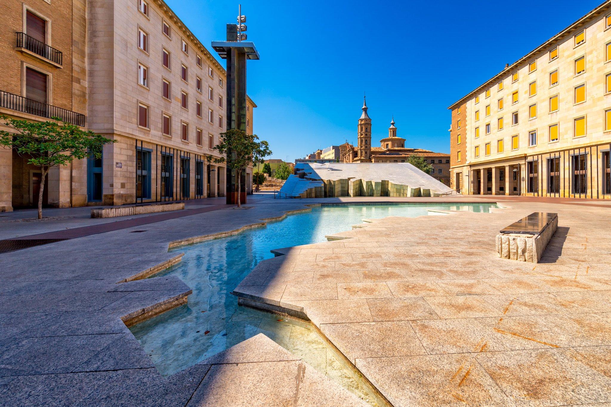 The Fuente de la Hispanidad fountain in Zaragoza, depicting South and Central America.