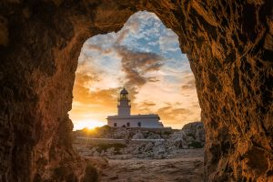 Menorca Lighthouse - Cap de Cavallería sunset shots on PhotoPills Camp.