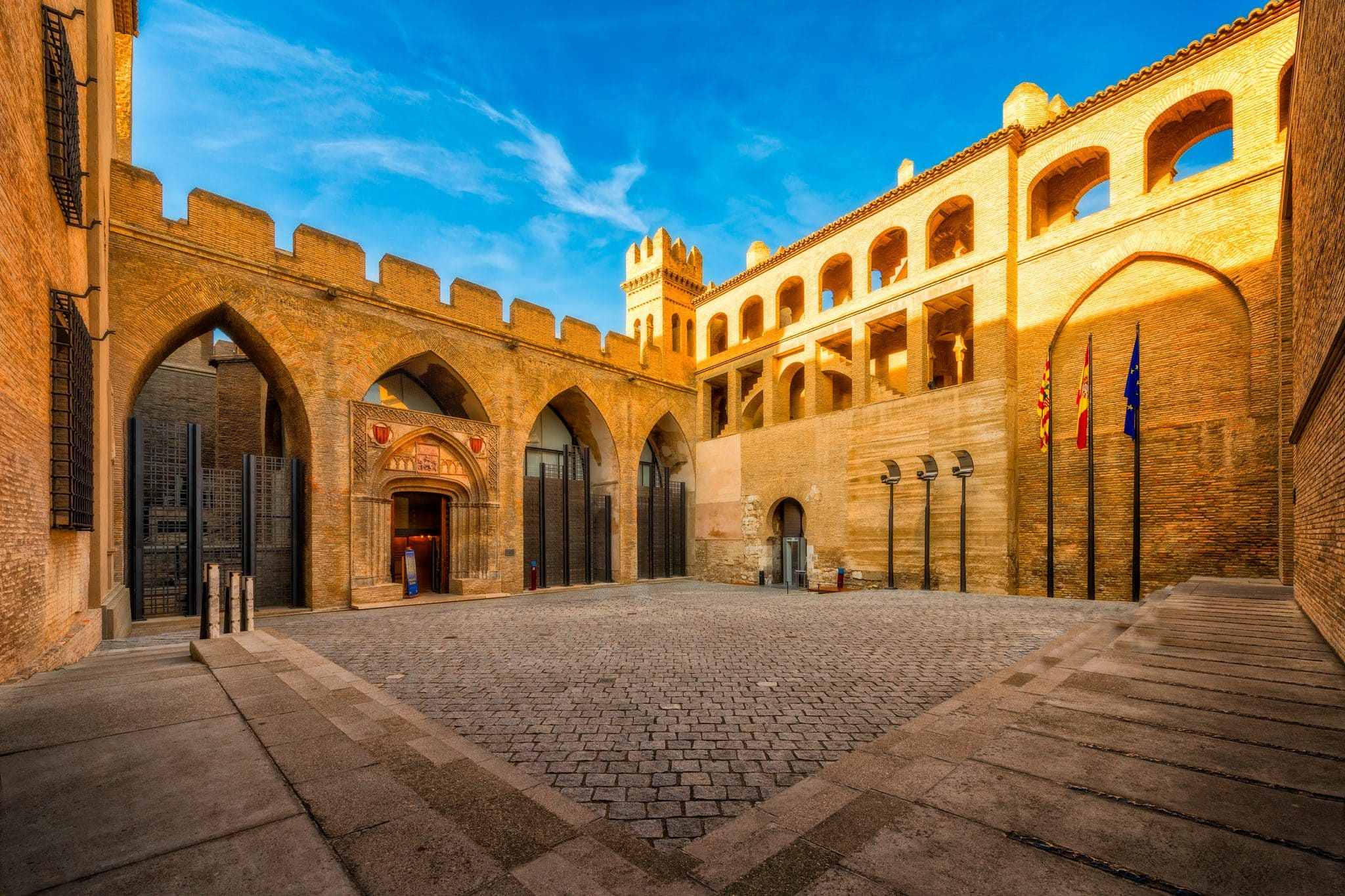 Aljaferia Palace and different architecture styles in Zaragoza, Spain.