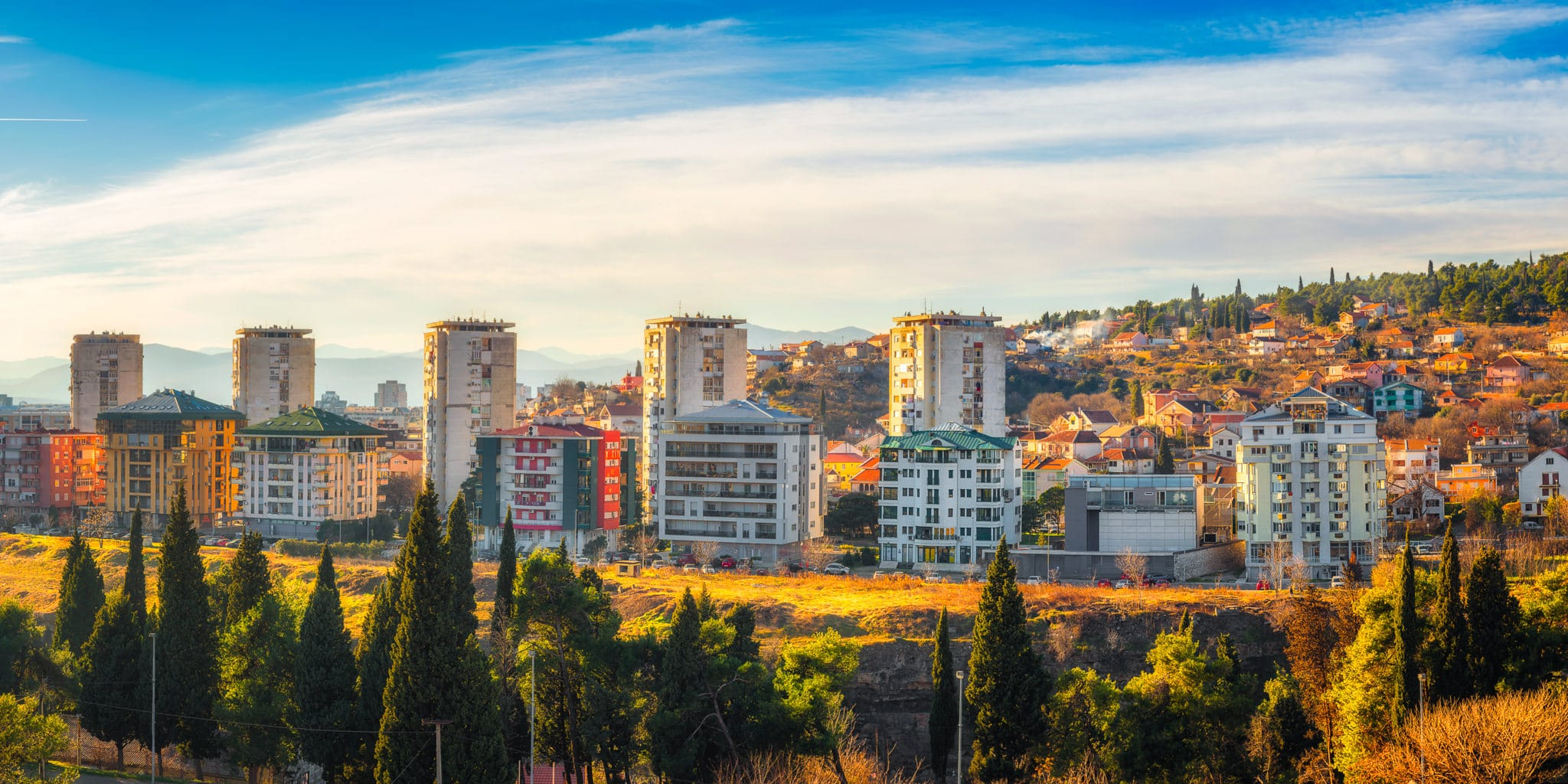 Podgorica Panorama with the Montenegrin Mountains in the background.