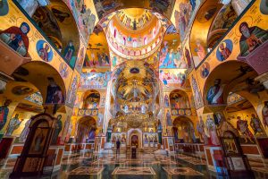 Interior Cathedral of the Resurrection of Christ with modern frescos, Podgorica in Montenegro.