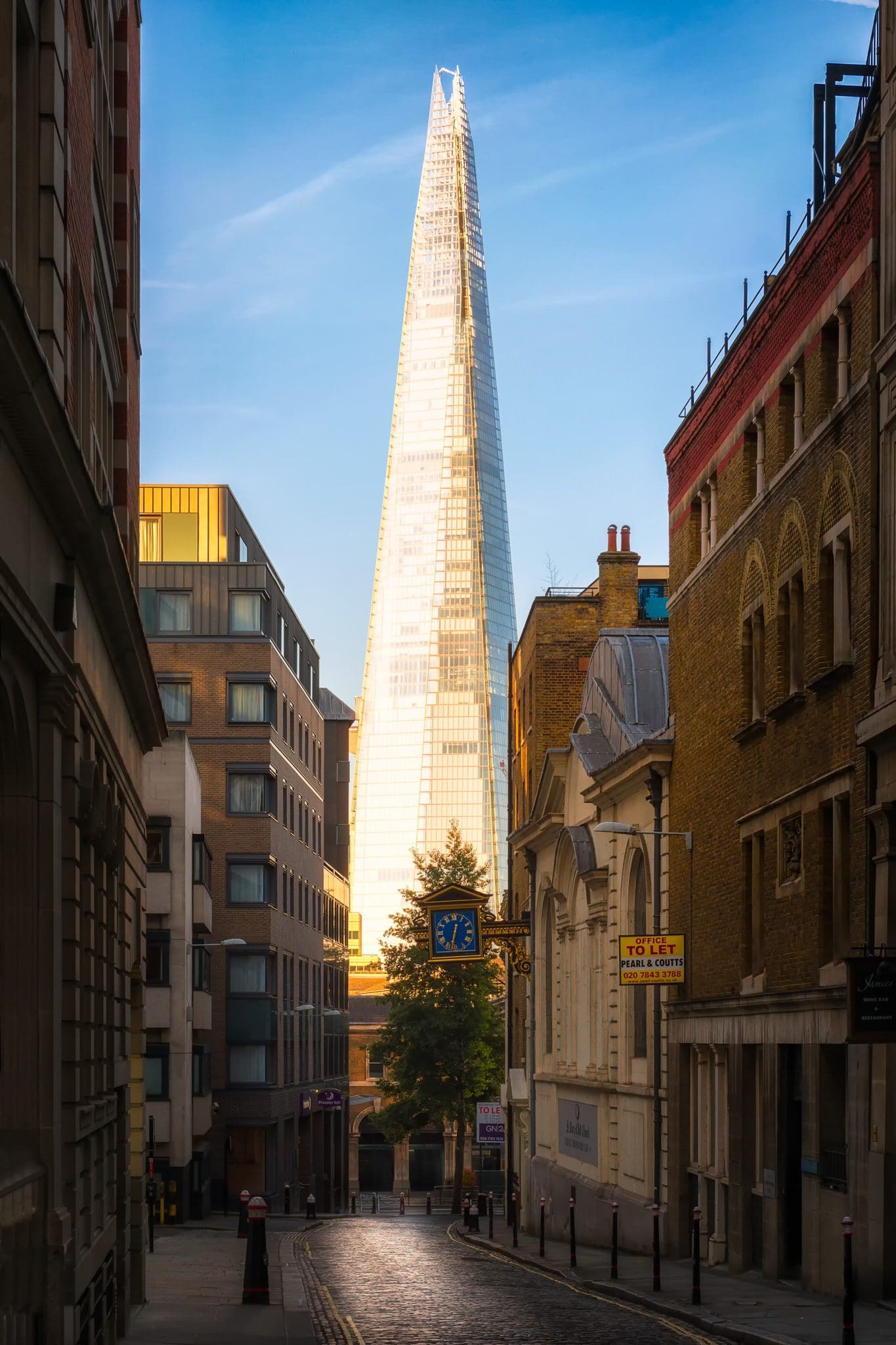 The Shard on a sunny day in London, England.