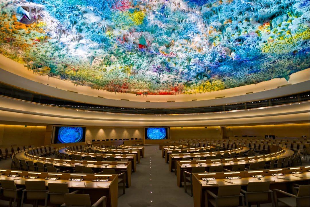 United Nations Human Rights Room and Cupola, Geneva, Switzerland.