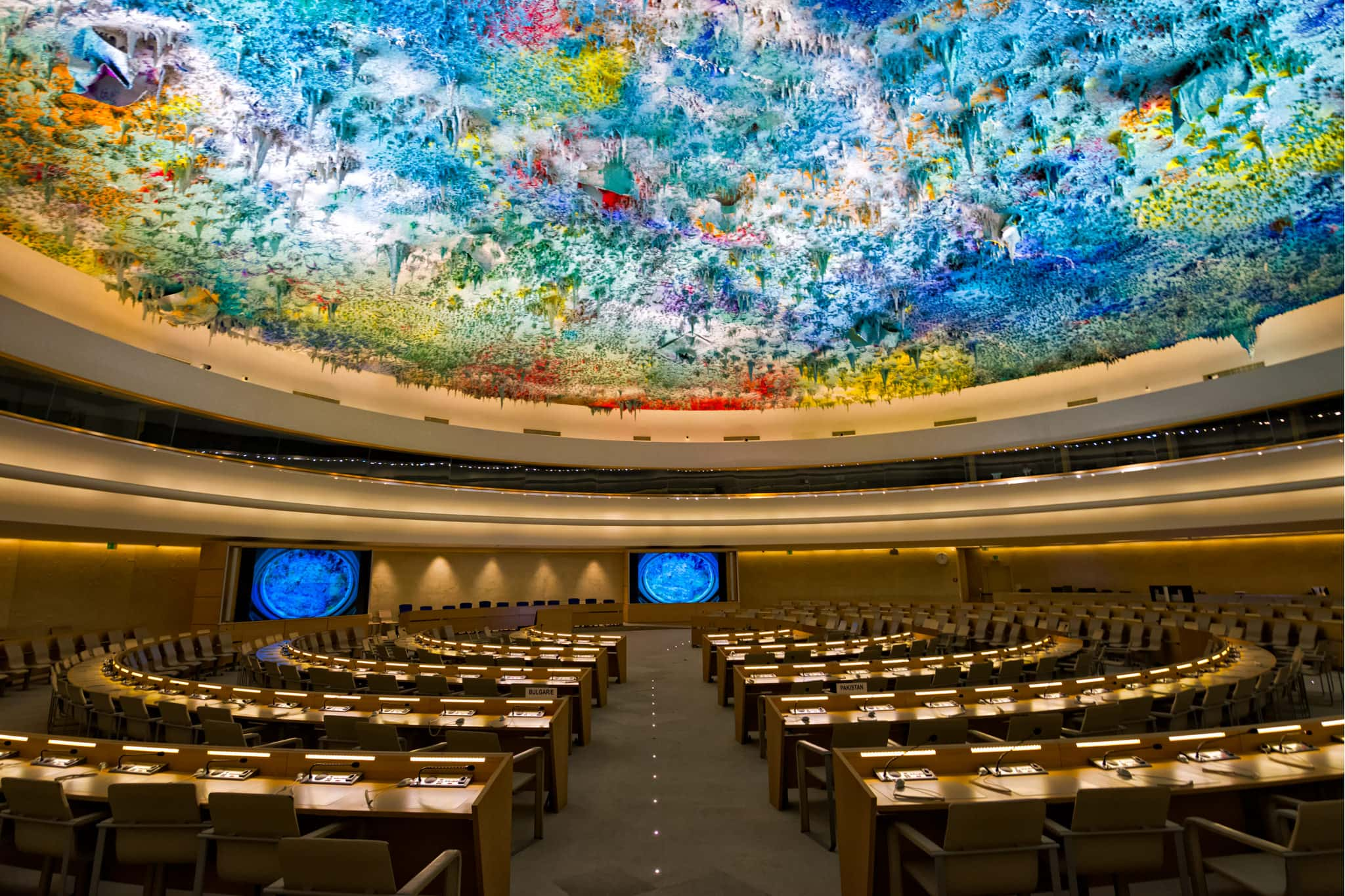 United Nations Human Rights Room and Cupola, Geneva, Switzerland.
