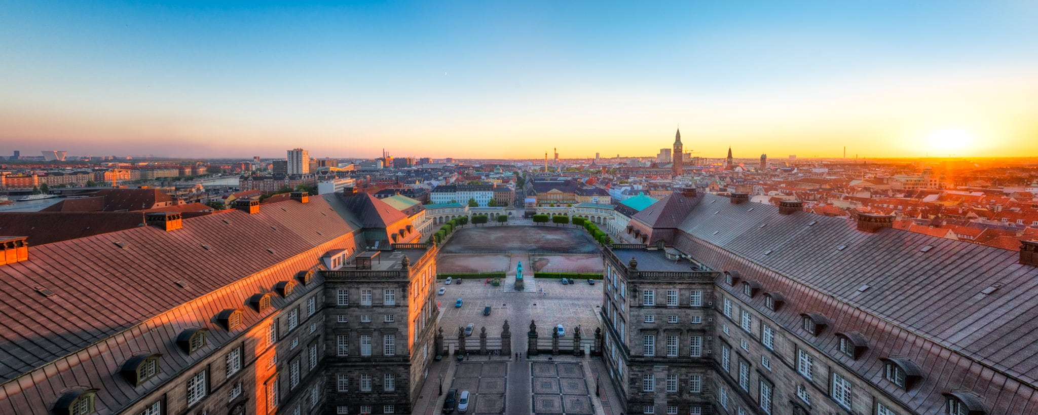 Copenhagen sunset skyline from Christiansborg Palace, Denmark