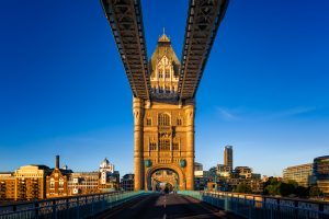 A sky blue view of Tower Bridge from Central London, England.