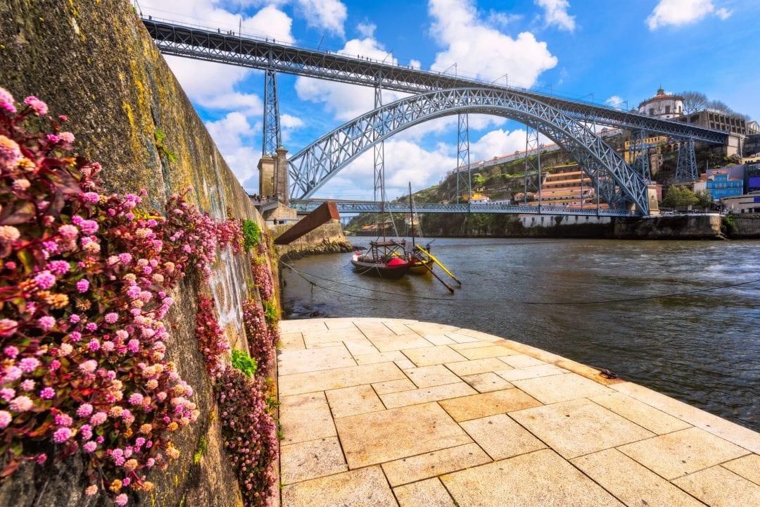 Spring in Porto, Portugal. A river view of the D. Luis Bridge.