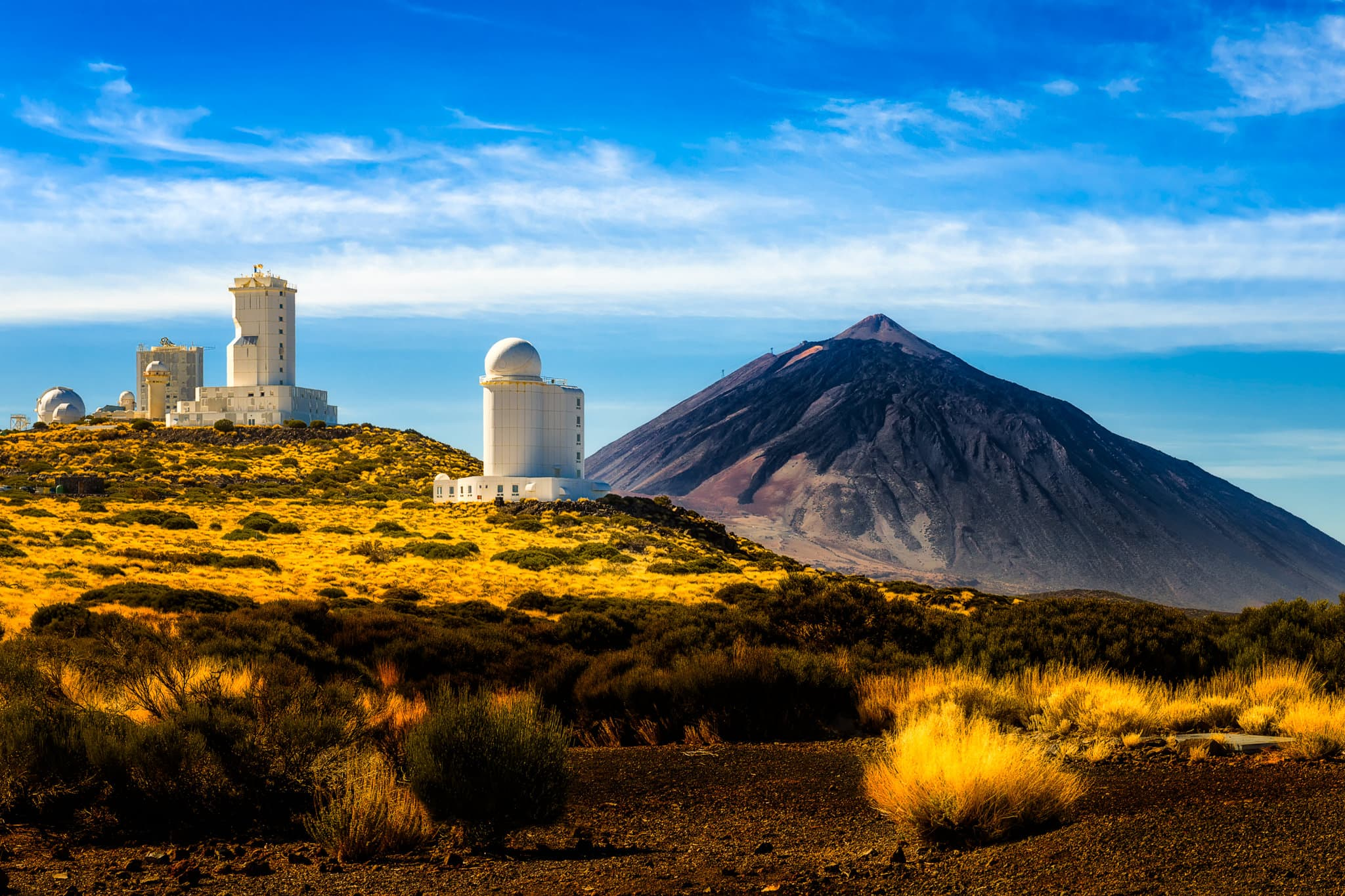 Tenerife Teide Observatory on a sunny day, Spain.