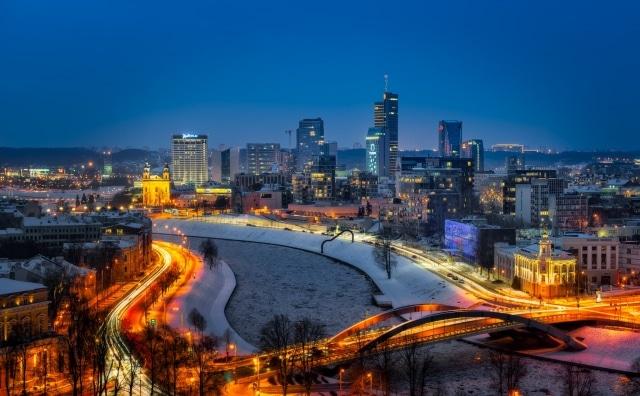Vilnius Skyline on a winter evening, Lithuania