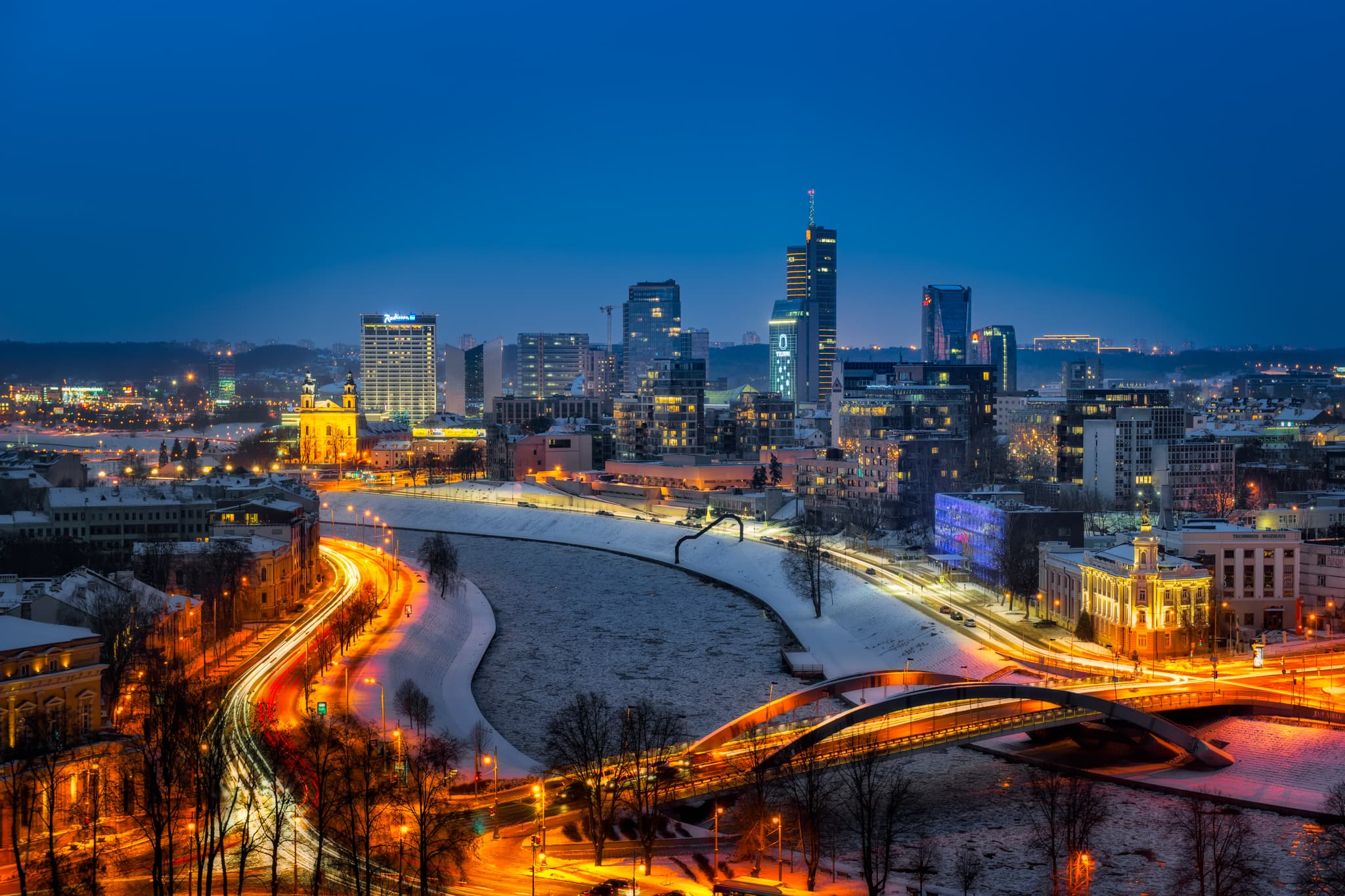 Vilnius Skyline on a winter evening, Lithuania