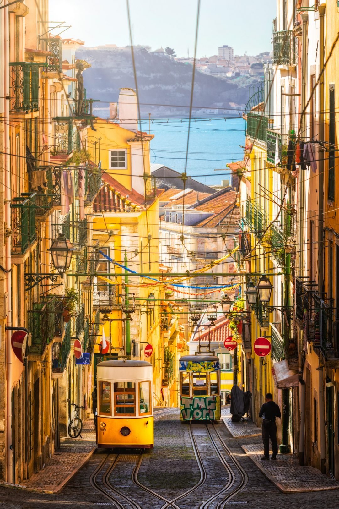 The Bica Funicular in Lisbon on a sunny day, Portugal.