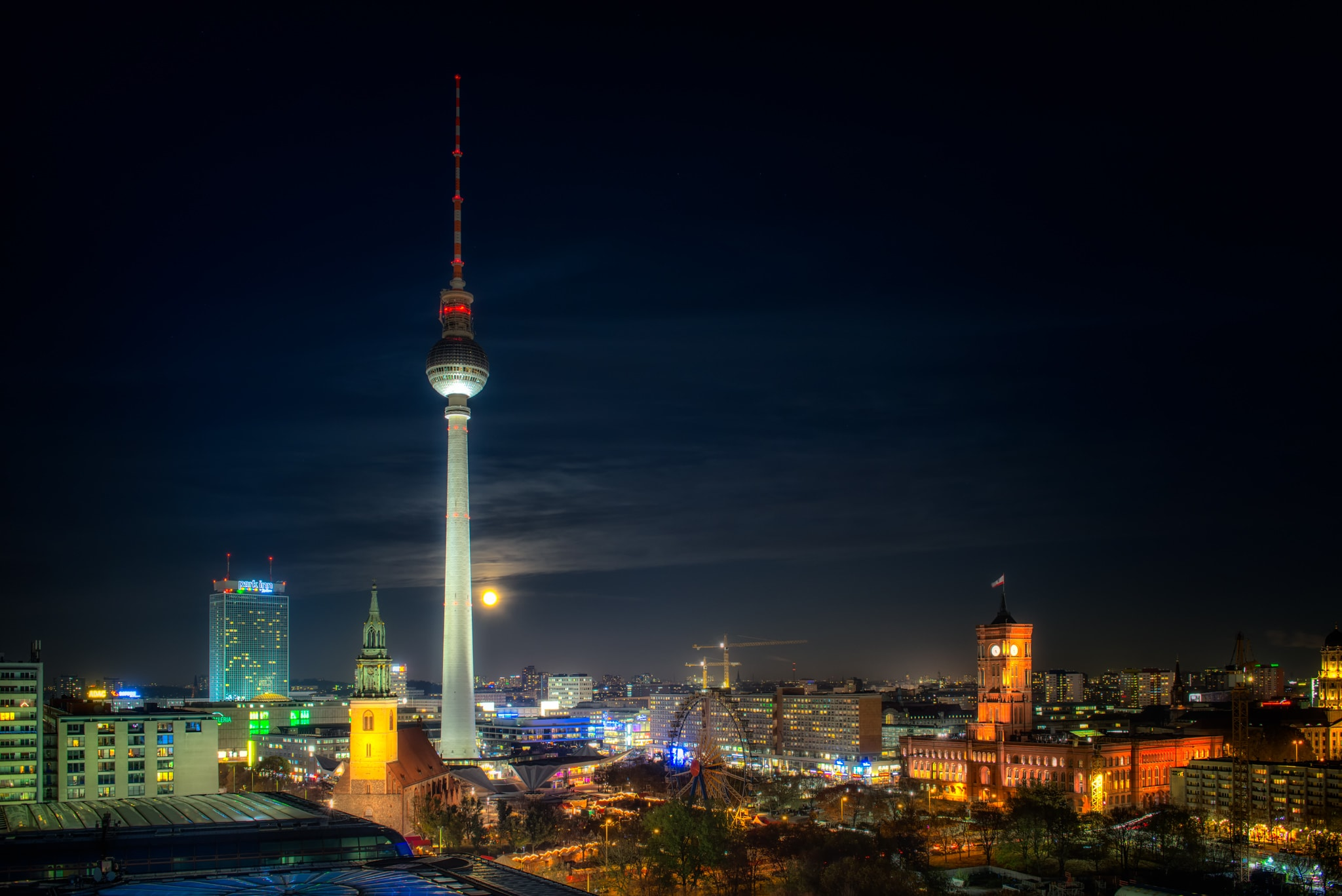 Berlin Supermoon 2016 with a view from Alexander Platz, Germany.