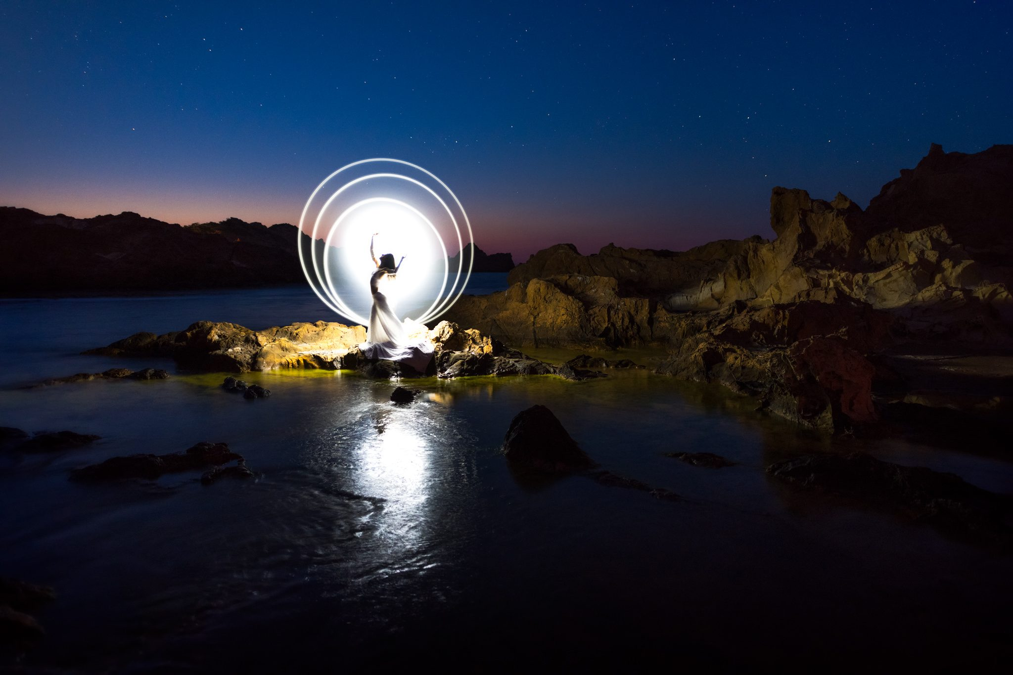 Tube light painting in Menorca, Spain.