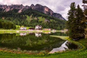 Misurina Lake with mountain reflections in the Dolomites, Italy.
