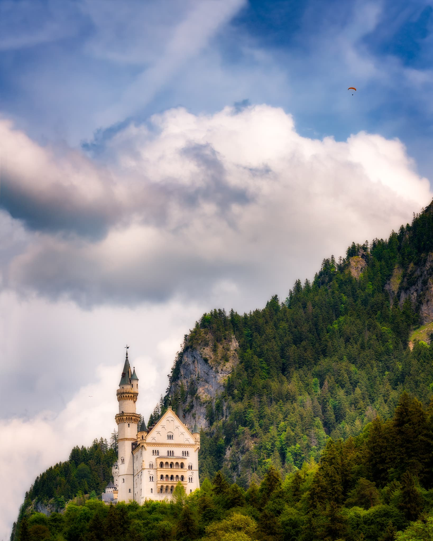 Neuschwanstein Castle during the summer months, Bavaria in Germany.