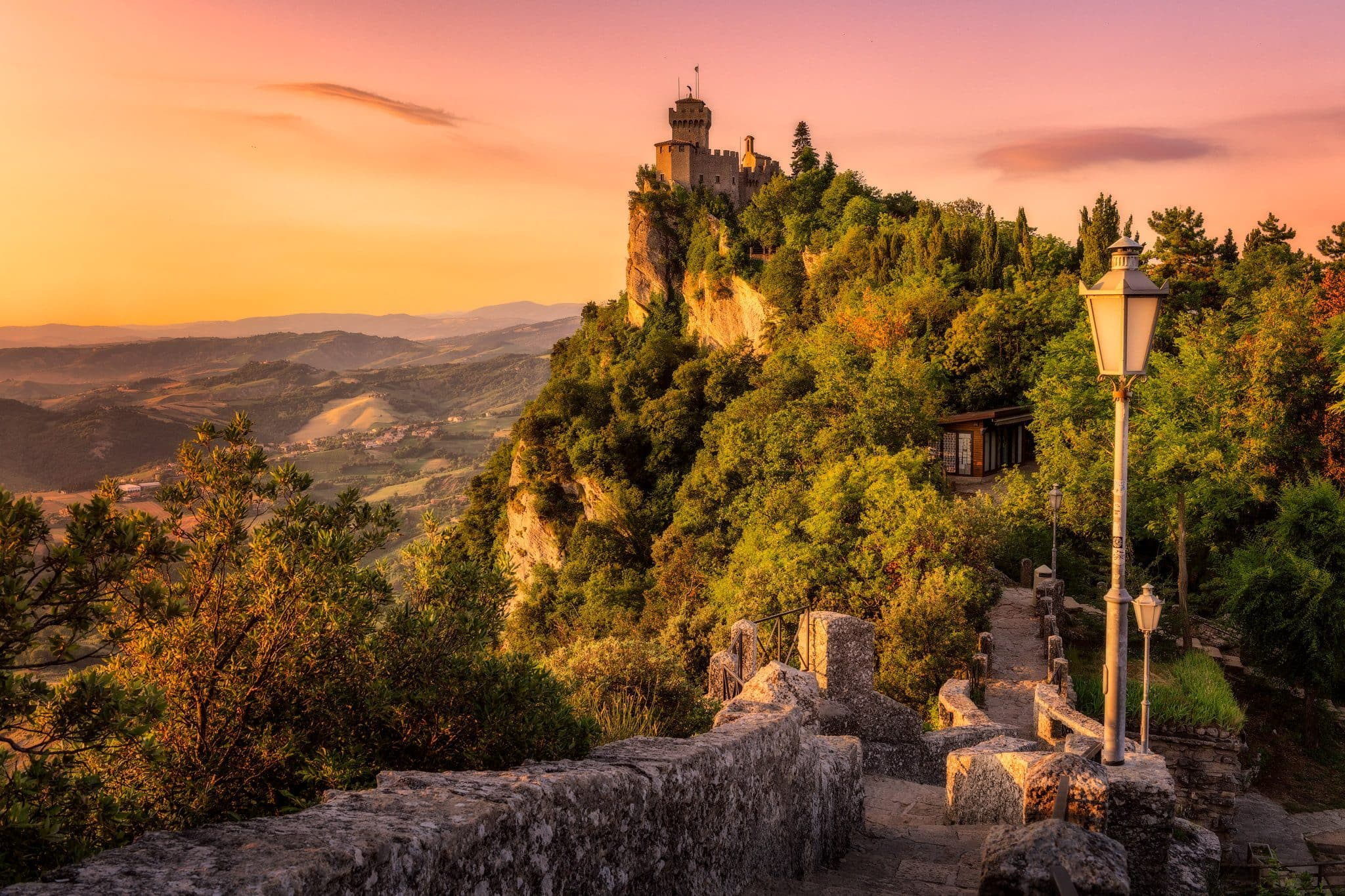 San Marino Towers on the valley in the morning.