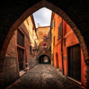 Ferrara im Sommer, eine Renaissance-Stadt in Italien.