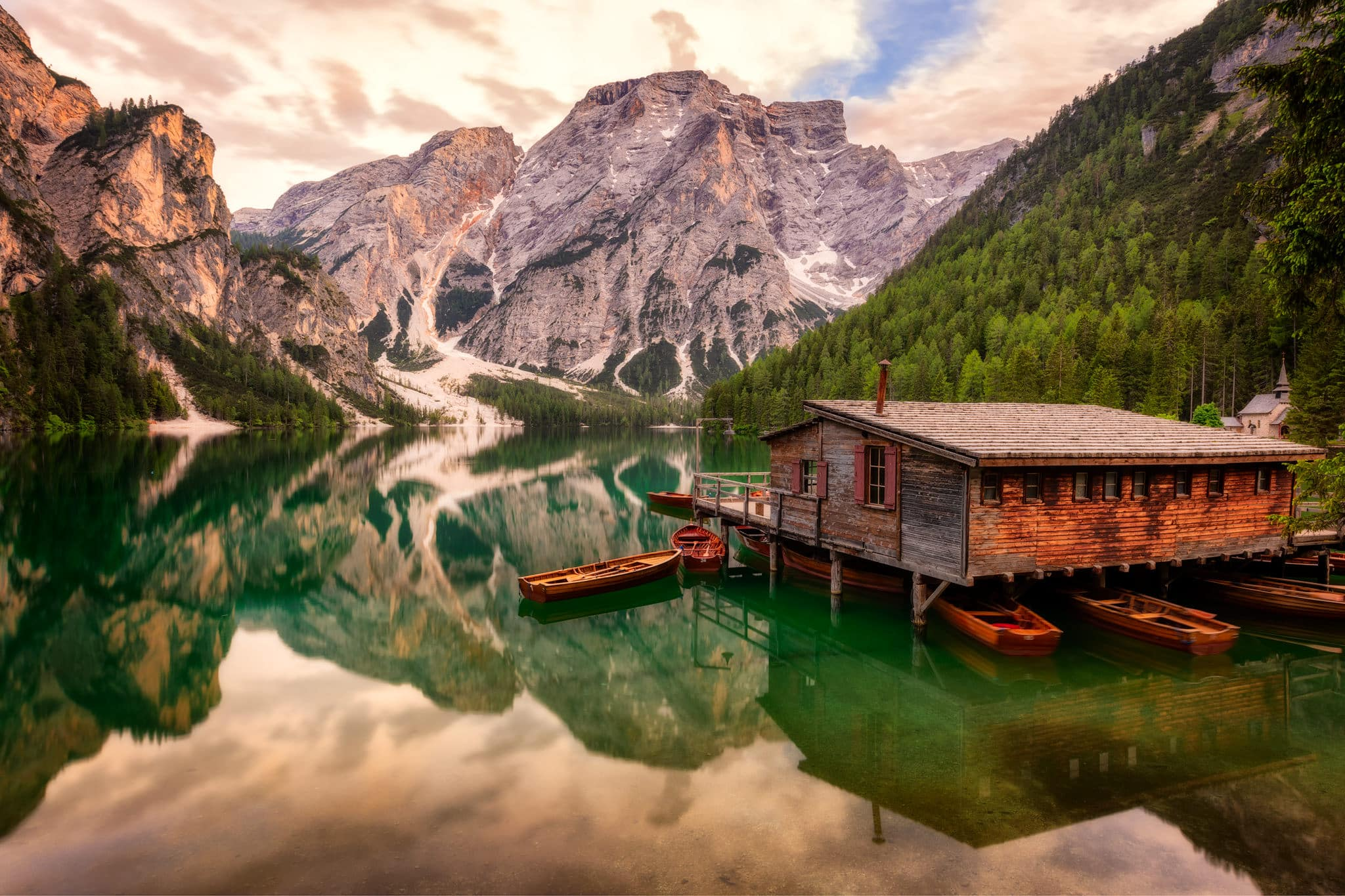 Evening at Braies Lake in the Dolomites, Italy