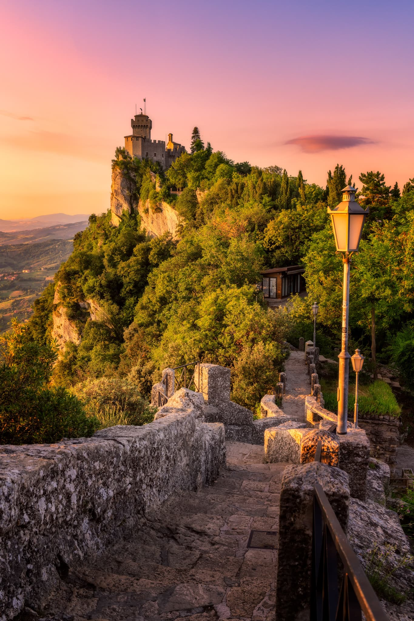 "Sunrise over San Marino and the second tower ""Cesta"""
