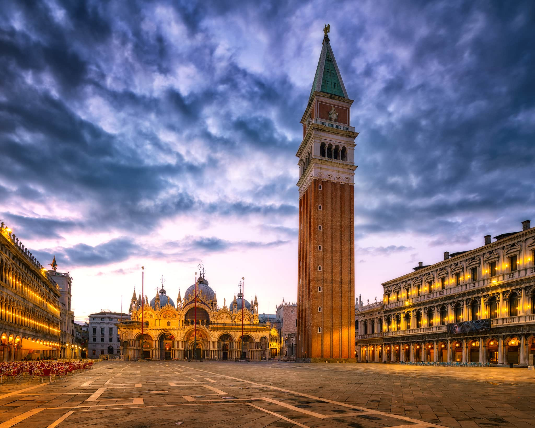 Venice St Mark's Square with St Mark's Basilica and St Mark's Campanile – summer in Italy