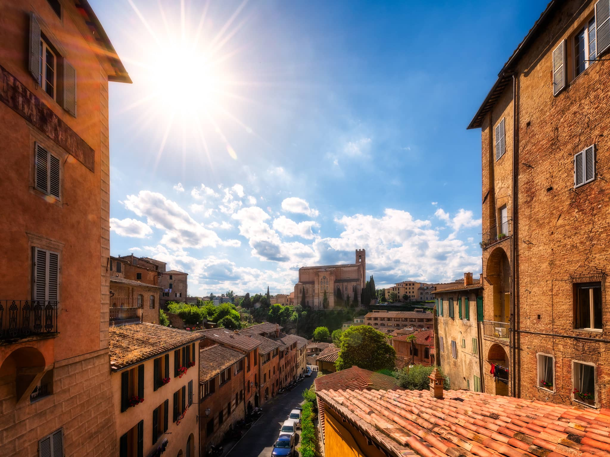 Basilica di San Domenico in Siena, Italy – a summer's day.