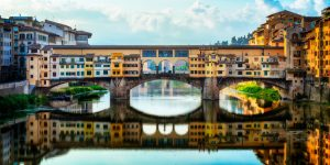 The Ponte Vecchio with jewellery shops in Florence, Italy.